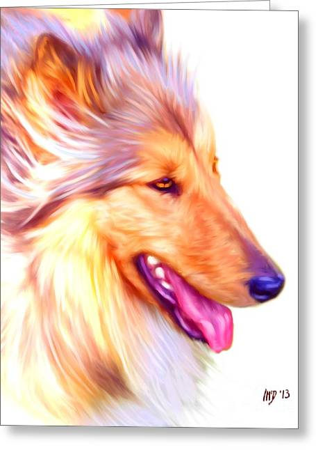 Collie Pics Greeting Cards - Collie Digital Dog Art Greeting Card by Iain McDonald