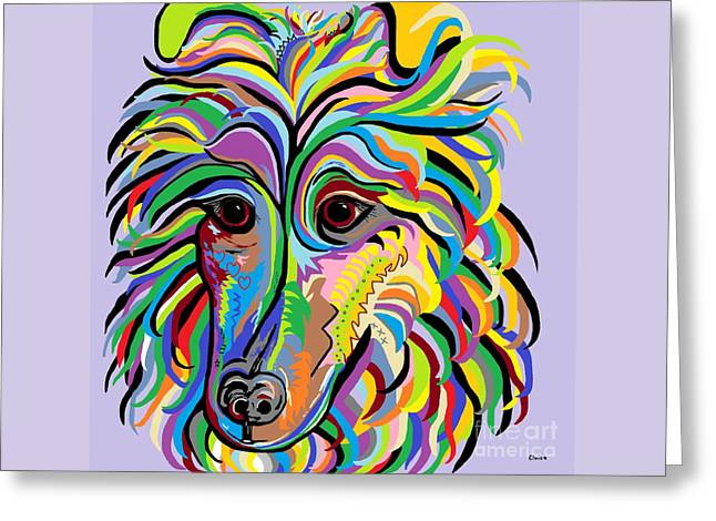 Collie Mixed Media Greeting Cards - Collie Greeting Card by Eloise Schneider