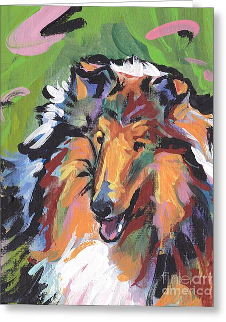 Collie Paintings Greeting Cards - Collie Folly Greeting Card by Lea