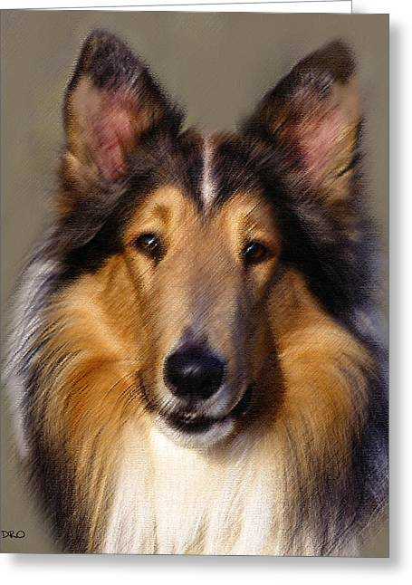 Symbolism Pastels Greeting Cards - Collie in Pastel Greeting Card by George Pedro