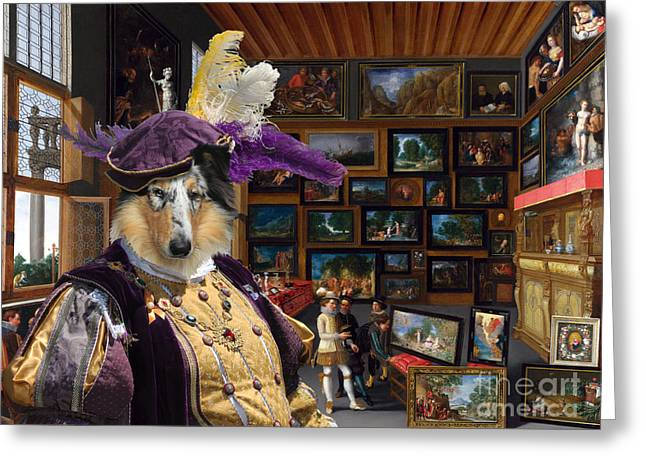 Dog Prints Greeting Cards - Collie Rough Canvas Print - Cognoscenti in a Room hung with Pictures Greeting Card by Sandra Sij
