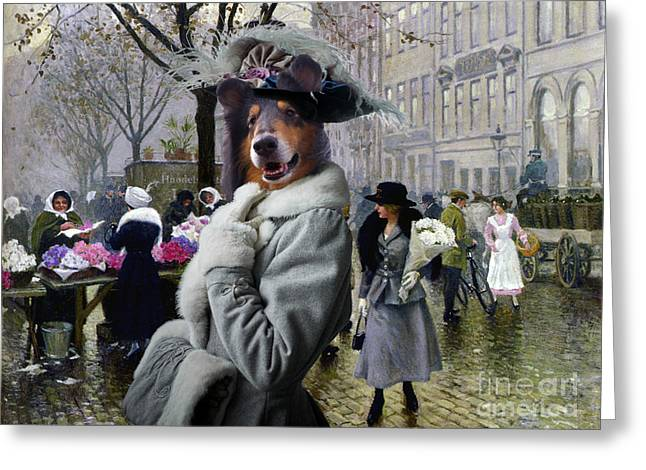 Dog Prints Greeting Cards - Collie Rough Canvas Print - The Flower Market Copenhagen Greeting Card by Sandra Sij