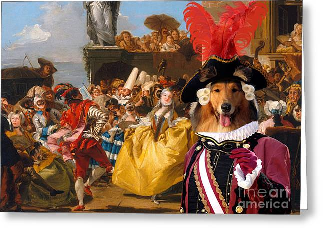 Dog Prints Greeting Cards - Collie Rough Canvas Print - The Royal Dance Greeting Card by Sandra Sij