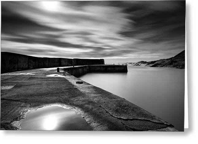 Harbour Wall Greeting Cards - Collieston Breakwater Greeting Card by Dave Bowman