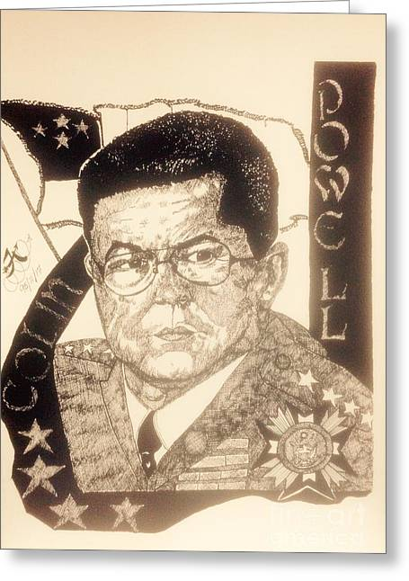Shower Curtain Drawings Greeting Cards - Collin Powell Greeting Card by Franky A Hicks