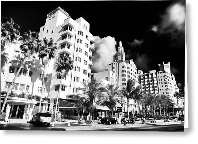 Old School Galleries Greeting Cards - Collins Avenue Greeting Card by John Rizzuto