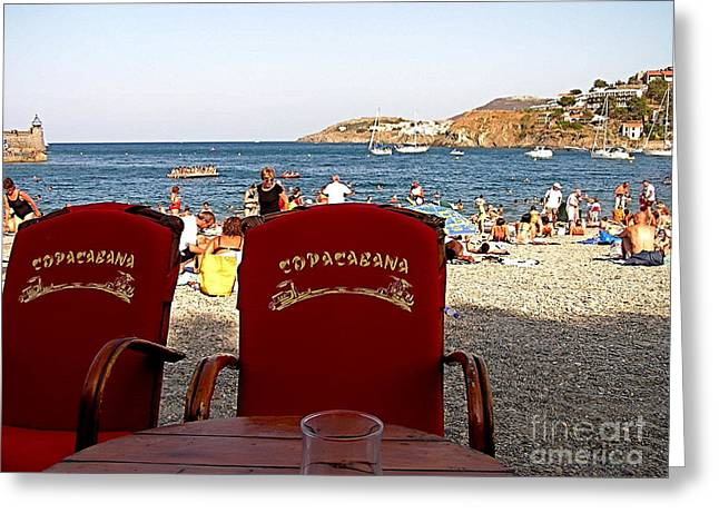 Sand Art Greeting Cards - Collioure Beach Cafe  Greeting Card by France  Art