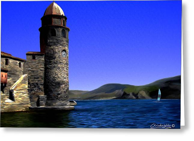 Languedoc Mixed Media Greeting Cards - Collioure Bell Tower Greeting Card by Chris Knights