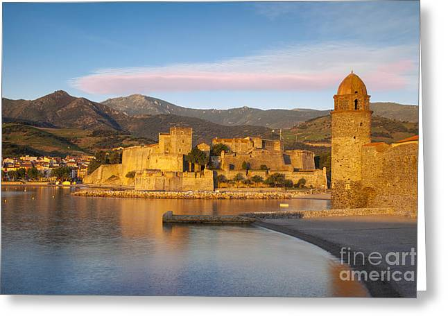 Languedoc Greeting Cards - Collioure Dawn Greeting Card by Brian Jannsen