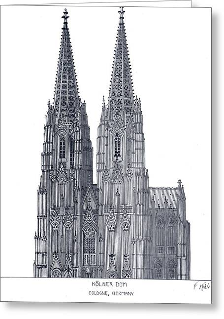 Pen And Ink Greeting Cards - Cologne Cathedral Greeting Card by Frederic Kohli