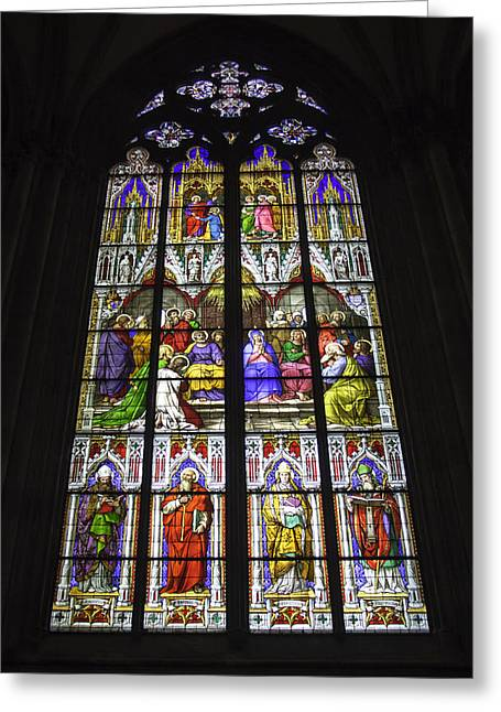 Cologne Cathedral Stained Glass Window Of Pentecost Greeting Card by Teresa Mucha