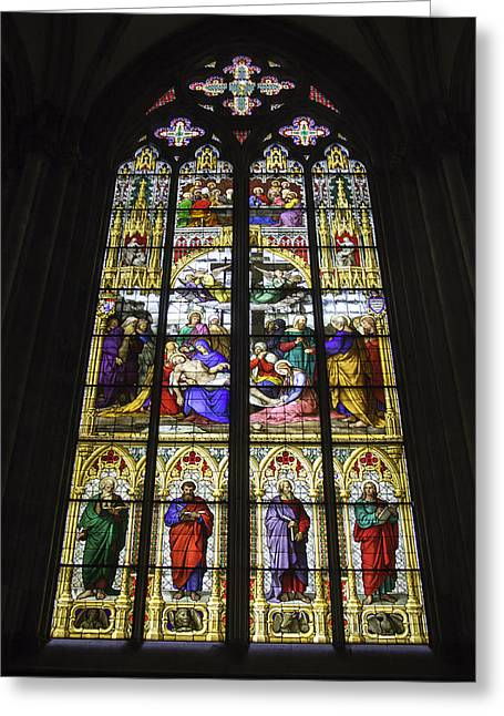 Last Supper Greeting Cards - Cologne Cathedral Stained Glass Window of the Lamentation Greeting Card by Teresa Mucha