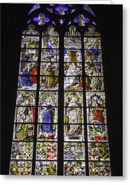 Child Jesus Photographs Greeting Cards - Cologne Cathedral Stained Glass Window of the Three Holy Kings Greeting Card by Teresa Mucha