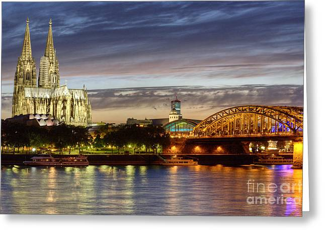 Cologne Greeting Cards - Cologne Cathedral with Rhine Riverside Greeting Card by Heiko Koehrer-Wagner