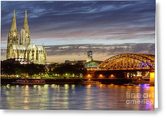 Cologne Cathedral With Rhine Riverside Greeting Card by Heiko Koehrer-Wagner