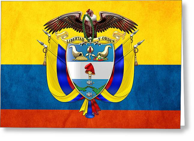 Rep Greeting Cards - Colombia Coat of Arms and Flag  Greeting Card by Serge Averbukh