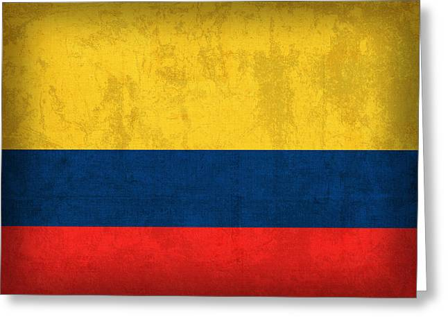 Colombia Flag Vintage Distressed Finish Greeting Card by Design Turnpike