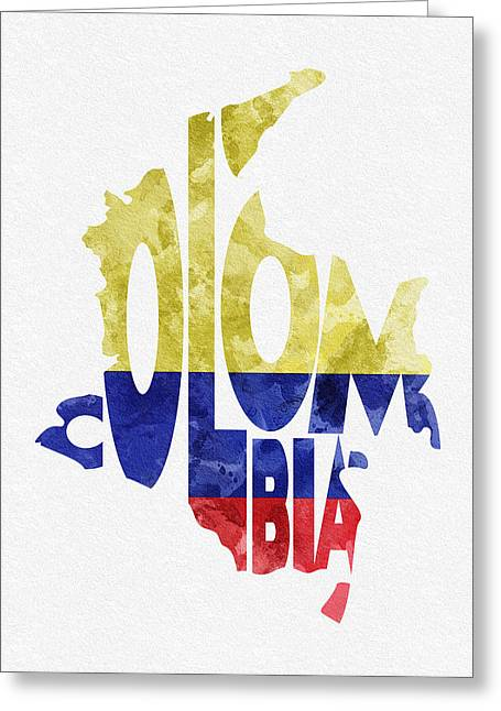National Digital Greeting Cards - Colombia Typographic Map Flag Greeting Card by Ayse Deniz