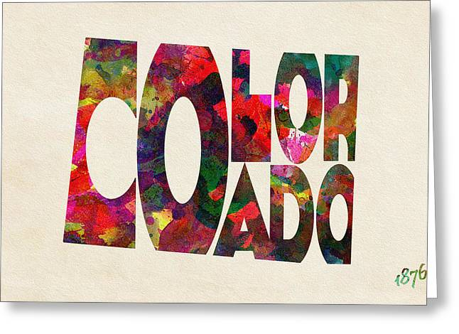 Homeland Greeting Cards - Colorado Typographic Watercolor Map Greeting Card by Ayse Deniz