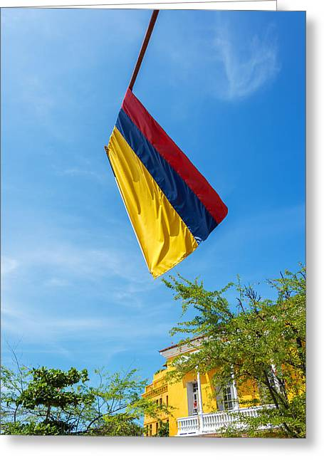Colombia Greeting Cards - Colombian Flag and Blue Sky Greeting Card by Jess Kraft