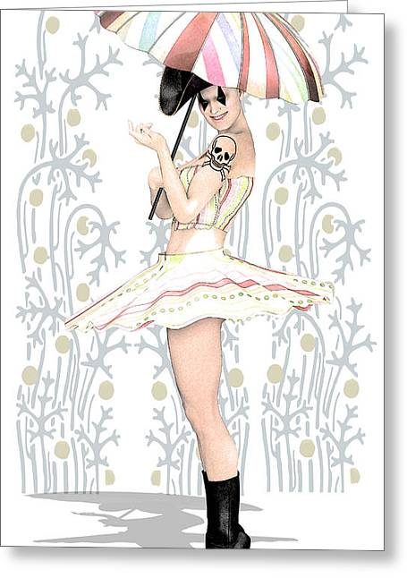 Pierrot Greeting Cards - Daisy Commedia dellarte by Quim Abella Greeting Card by Joaquin Abella