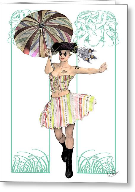 Pirates Drawings Greeting Cards - Columbine Pirate girl by Quim Abella Greeting Card by Joaquin Abella
