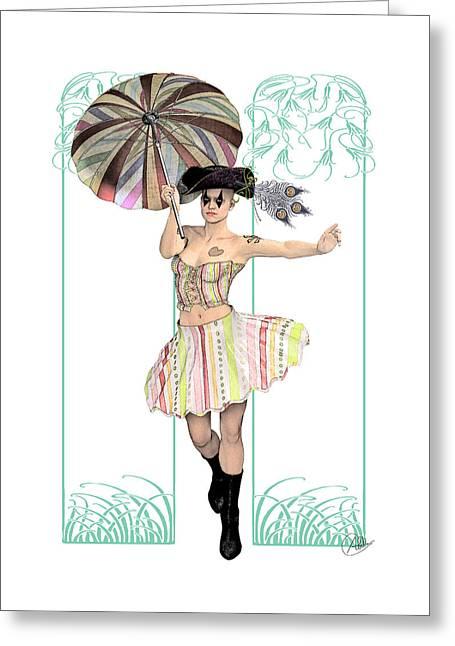 Columbine Pirate Girl Greeting Card by Quim Abella