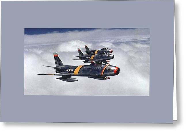 1951 Mixed Media Greeting Cards - Colonel Ben O Davis Leads F 86 Sabres Over Korea Large Border Greeting Card by L Brown