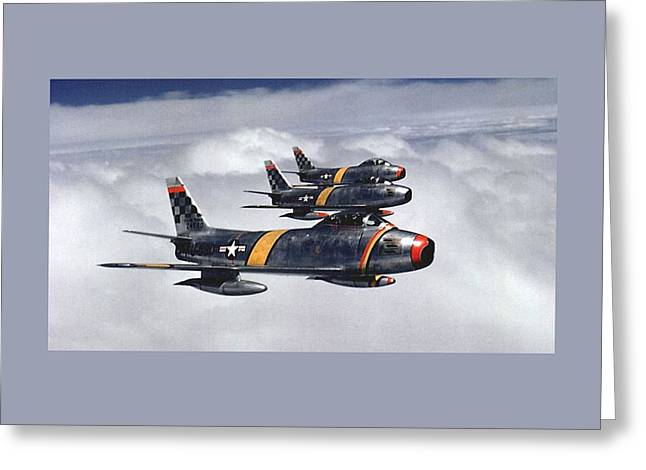 Colonel Ben O Davis Leads Flight F 86 Sabres Over Korea Medium Border Greeting Card by L Brown