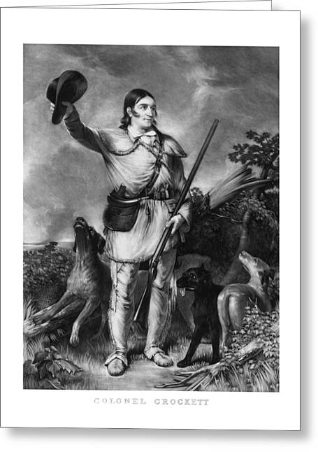 Frontiersman Greeting Cards - Colonel Davy Crockett Greeting Card by War Is Hell Store