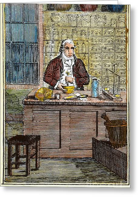 Colonial Man Greeting Cards - COLONIAL APOTHECARY, 18th C Greeting Card by Granger