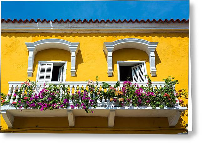 Cartagena Greeting Cards - Colonial Balcony in Cartagena Greeting Card by Jess Kraft