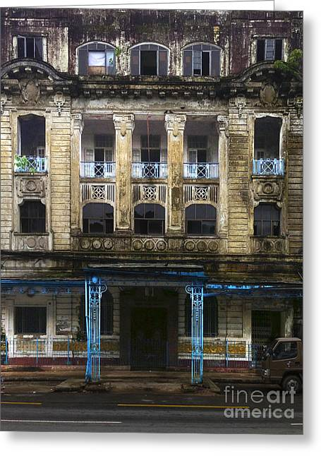 Colonial Architecture Greeting Cards - Colonial Facade Merchant Street 8th Ward Central Yangon Burma Greeting Card by Ralph A  Ledergerber-Photography