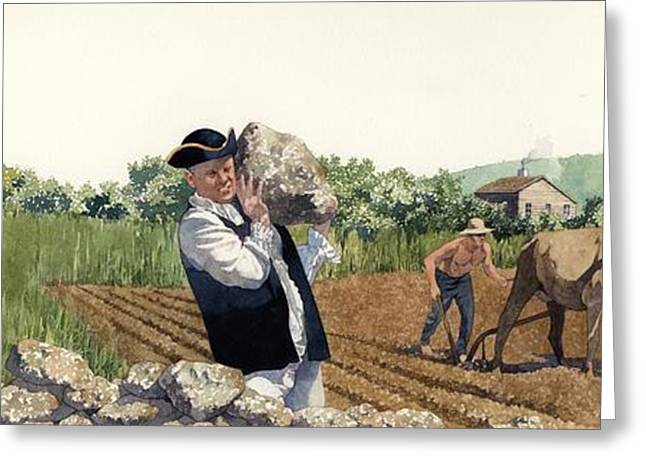 Colonial Greeting Cards - Colonial Farmer Greeting Card by Matthew Frey