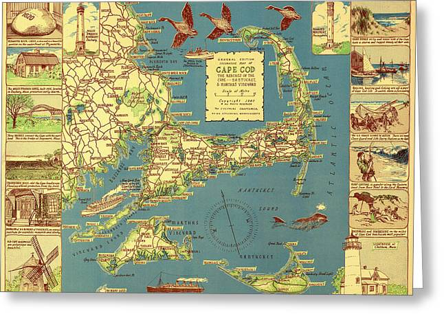 Old Country Roads Drawings Greeting Cards - Colonial Map of Cape Cod Greeting Card by Mountain Dreams