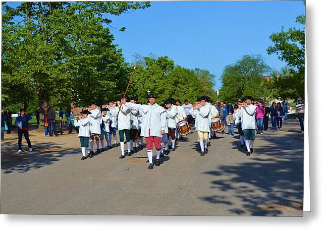 Hostoric Greeting Cards - Colonial Marching Band and Soliders Greeting Card by Richard Jenkins