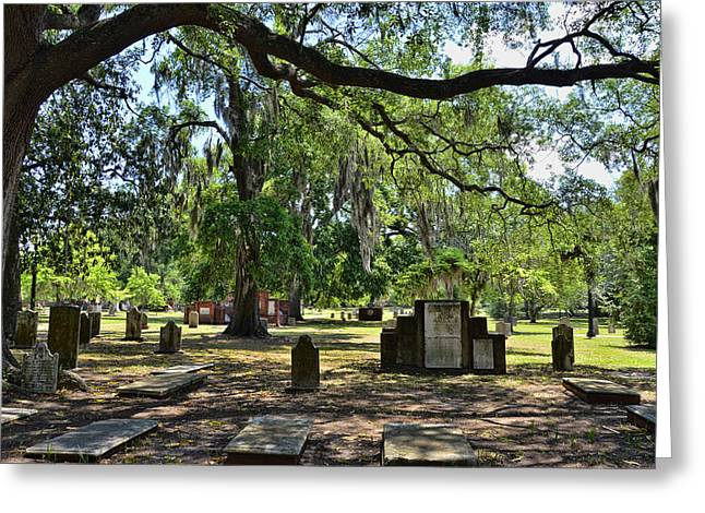 Abercorn Greeting Cards - Colonial Park Cemetery Greeting Card by Allen Beatty