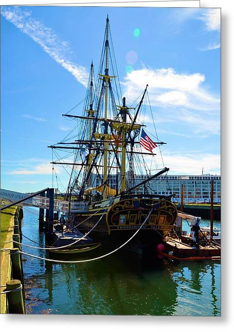 Pilgram Greeting Cards - Colonial Ship Greeting Card by Richard Jenkins