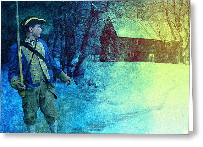 Wintry Greeting Cards - Colonial Soldier Leaving his Home Greeting Card by Matthew Frey