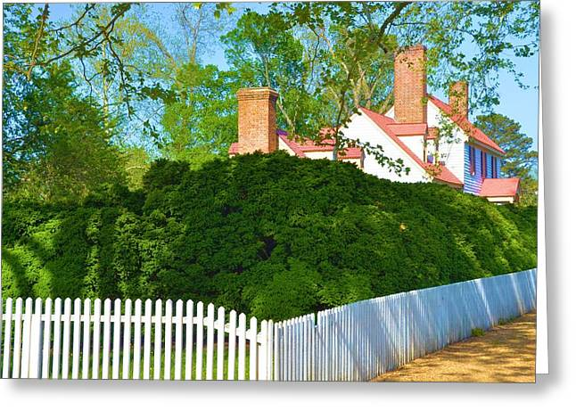 White Pickett Fences Greeting Cards - Colonial Winniamsburg Greeting Card by Richard Jenkins