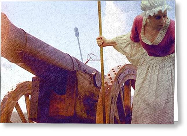 Pitcher Paintings Greeting Cards - Colonial Woman Firing Cannon Greeting Card by Matthew Frey