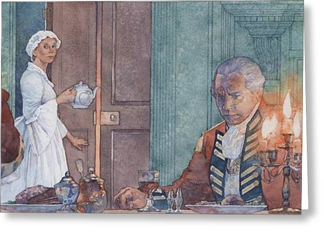 Oppression Greeting Cards - Colonial Woman Forced to House British Troops Greeting Card by Greg Harlin