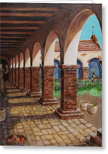 The Wooden Cross Greeting Cards - Colonnade and Father and Donkey  Greeting Card by Jan Mecklenburg