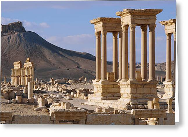 Sand Castles Greeting Cards - Colonnades On An Arid Landscape Greeting Card by Panoramic Images