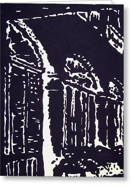 Prague Paintings Greeting Cards - Colonnial Interior Greeting Card by Oscar Penalber