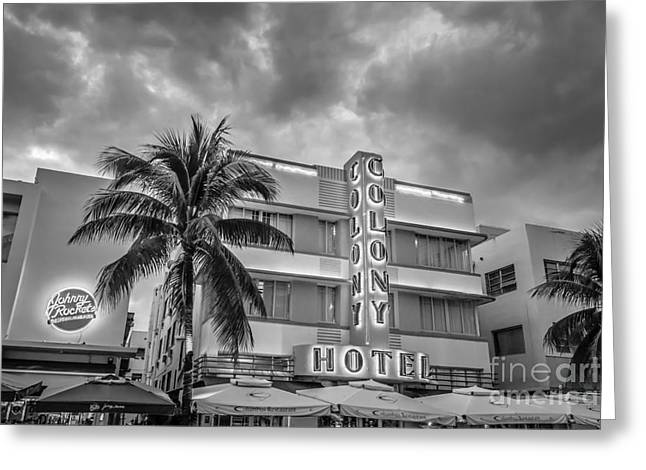 Historic District Greeting Cards - Colony and Johnny Rockets Art Deco District SOBE Miami - Black and White Greeting Card by Ian Monk