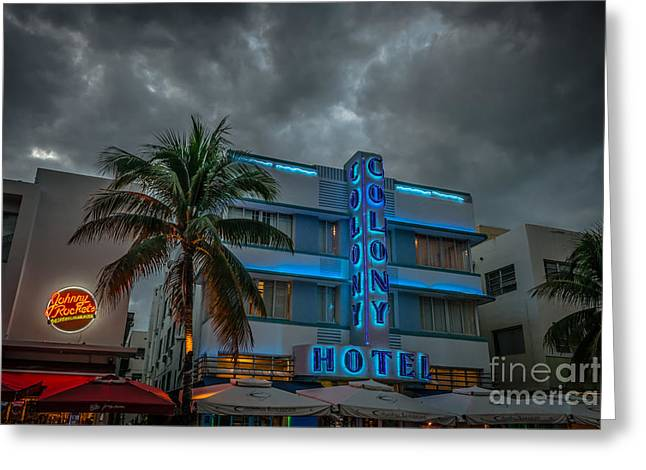Treasures Greeting Cards - Colony and Johnny Rockets Art Deco District SOBE Miami - HDR Style Greeting Card by Ian Monk