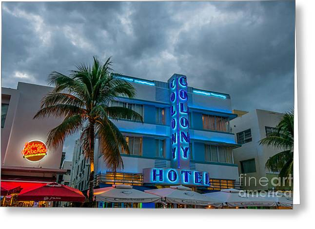 1930s Greeting Cards - Colony and Johnny Rockets Art Deco District SOBE Miami  Greeting Card by Ian Monk