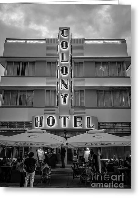 1930s Greeting Cards - Colony Hotel Art Deco District SOBE Miami Florida - Black and White Greeting Card by Ian Monk