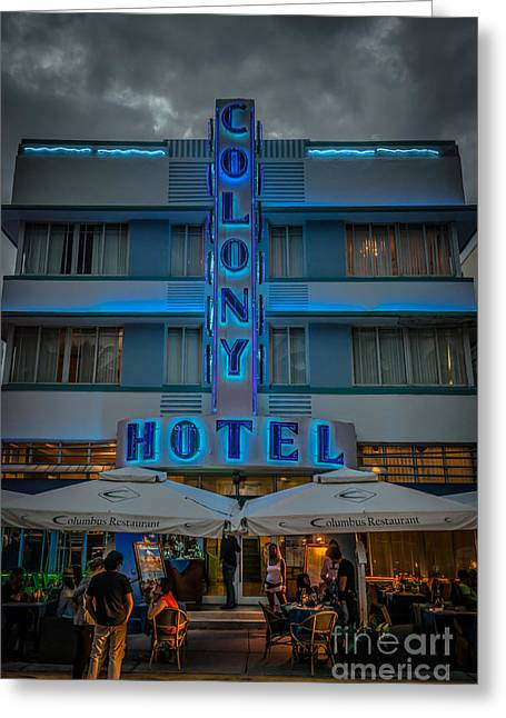 1930s Greeting Cards - Colony Hotel Art Deco District SOBE Miami Florida - HDR Style Greeting Card by Ian Monk